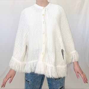 Vintage Off White Chunky Knit Poncho